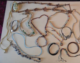Lot of Beaded necklaces and bracelets for Crafts