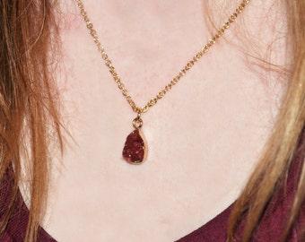 Fuchsia Druzy Pendant Necklace