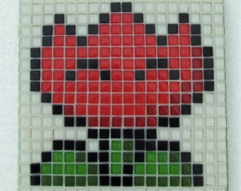 Super Mario powerup; handmade mosaic wall art; glass mosaic wall art; retro vintage video games;