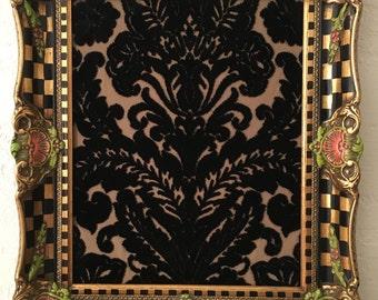 Whimsical Checked Antique Gold Gilt Baroque Ornate Frame Checkered