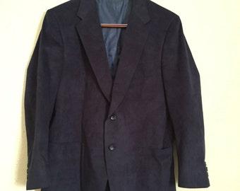 Vintage Navy Blue Suede Blazer