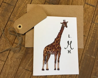 Giraffe Note Cards, personalized