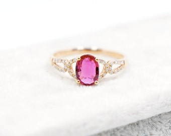 Rubellite engagement ring in 18k Rose gold, Diamond Engagement Ring, Unique Engagement Ring