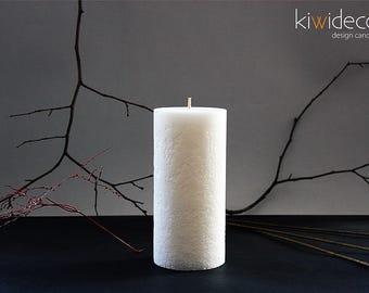 "Handmade Large Pillar Rustic Bulk Candle White 85 x 180 mm (3.34 x 7.08"")"