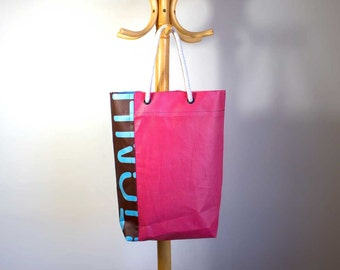 Tote bag, grocery bag, market bag, shopping bag, made from recycled banners - mesh and graphic print banner