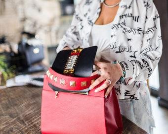 Red handbag leather handbag red crystals-customizable