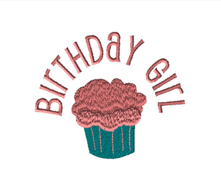 Embroidery file birthday girl pes