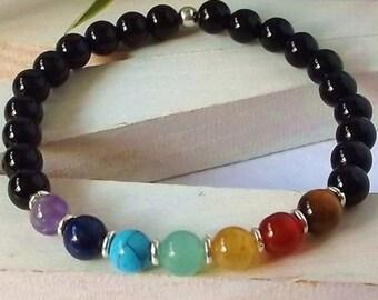 8MM 7 Chakra Natural Stone With Black Onyx Stretch Bracelet