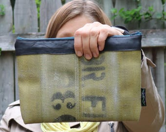 Upcycled Clutch Bag / Repurpose Recycle Upcycle / Gifts for Her / Firefighter Gift / Fire Hose Clutch / Repurposed Handbag / Reclaimed Bag
