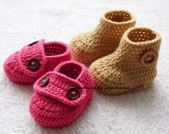 Crochet baby booties and shoes, two pairs of baby footwear, baby booties crochet for newborn , 0-3 months or 3-6 months, handmade baby shoes