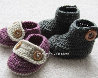 Baby booties and shoes crochet, handmade baby set, two pair of baby boots, baby shower gift, crochet baby booties, crochet baby shoes