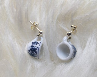 Miniature Blue China Tea Cup Earrings