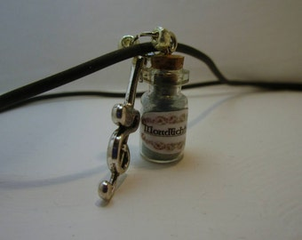 Glass vial on a leather strap, potion ingredients Moonlight dust