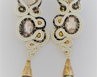 soutache earrings sand and black gold