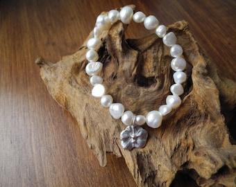 Handmade Fine Silver Orchid and stunning natural freshwater pearl bracelet (full UK hallmark)