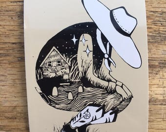 Stargazey Cowpoke Two-color Screenprint vinyl sticker