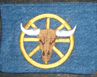 Wagon Wheel and Skull Coin Purse