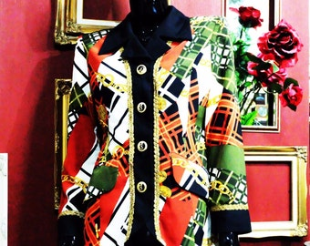 Rare Vtg.80s Blazer Jacket Exquisite Pattern Classy Baroque Style Multi Color