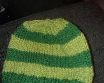 Newborn hat - lime and mid green striped