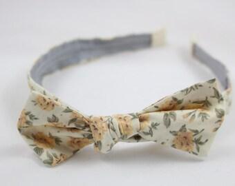 Cream and yellow floral headband, vintage headband, narrow headband, retro bow, rockabilly headband
