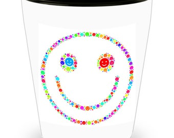 Smiley Face Emoji in Cool colors styled on Cool Ceramic Shot Glass Makes a Perfect Gift for the happy person in your life!!