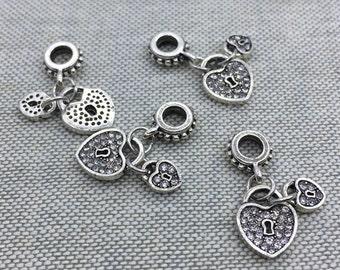 Rhinestone paved heart locks dangle charm fit european/ pandora bracelet non tarnish sparkle heart charm