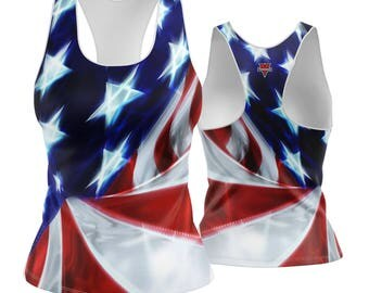 Racerback / Tank Top- in our USA Chrome Flag