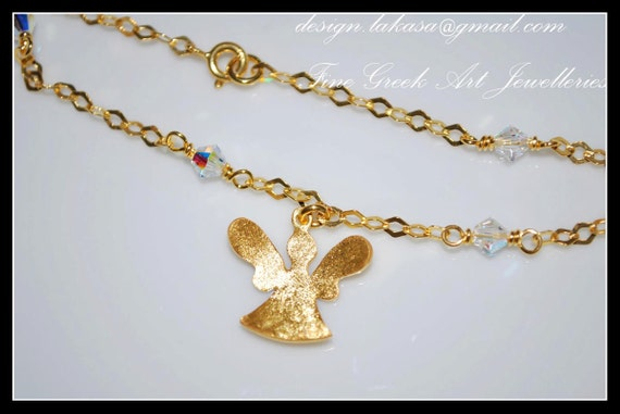 Angel bracelet 925 sterling silver gold plated fine jewellery Swarovski crystals in chain best Ideas gifts for her christmas lakasa e shop