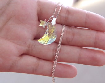"Sterling Silver Necklace with Swarovski Crystal - ""Mini Starry Night"" / Gifts for Her / Jewelry / Swarovski Necklace"