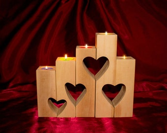 Candlesticks. Wooden candlesticks with hearts. Нand made