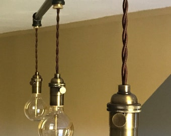 "Industrial Pendant Lighting: 1/2"" Oil-Rubbed Bronze Finish-Ceiling Fixture w/3 Brass Pendants (40-1/2"" W; Bulbs Incl)"