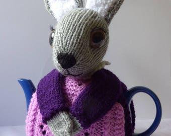 Handmade Rabbit teapot cosy / Novelty teapot cosy/ Knitted teapot cosy / Crochet teapot cosy / Handmade teapot cosy /Rabbit