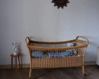 Vintage rattan bed