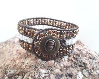 3 Row Leather Wrap Cuff Bracelet with Amber and Crystal Beads