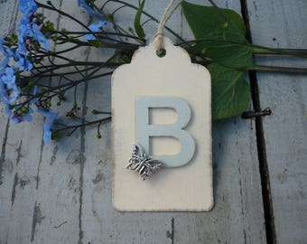 Gift tag with personalised initial, handmade tag, butterfly gift tag x1