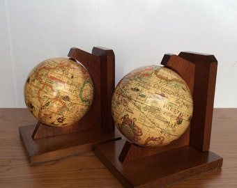 GLOBE BOOKENDS Spinning World Book Ends Earth Two 2 Pair Map Wood Wooden Mid Century Vintage Retro Library Office Spain Japan Italy Mad Men