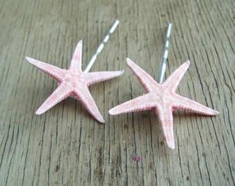 Little Mermaid Hair Accessories Natural Starfish Bobby Pins Set Of 2 Beach Wedding