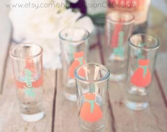 5 Shot Glass, Personalized Wedding, Bride, Bridesmaid, Maid of Honor, Matron of Honor, Wedding Shot Glasses