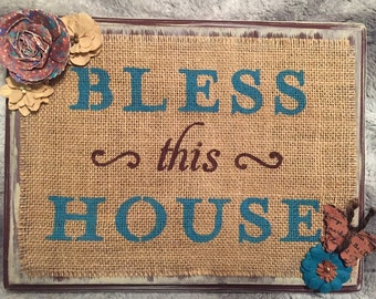 Bless This House Wooden Burlap Sign, Wooden Sign, Burlap Sign, Burlap, Rustic Home Decor, Rustic Plaque, Distressed Wood