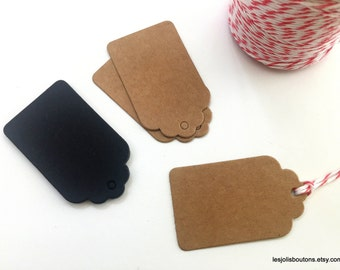 15x Kraft or Black Gift Tags Favor Tags