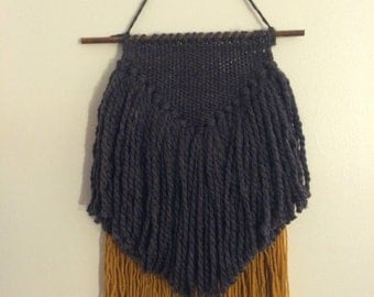 Charcoal Grey and Mustard Wall Hanging/Weaving