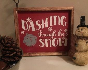 Christmas Wood Sign - Holiday Wood Sign - Dashing through the Snow - Rustic Christmas Sign