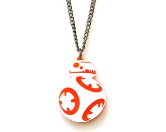 BB8 necklace, Star Wars necklace, Star Wars jewelry, BB8 jewelry, laser cut necklace, robot necklace, cute robot, BB-8 inspired