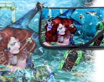Absinthe at Sea - Leather Clutch Purse - Mermaid Fantasy
