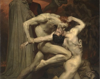 William Bouguereau : Dante and Virgile (1850) Canvas Gallery Wrapped Wall Art Print