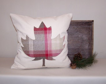 Brown and Red Plaid Maple Leaf Canvas Pillow Cover 18x18
