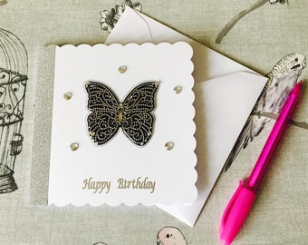 Handmade Birthday Card, Butterfly Birthday Card, Great Gatsby Inspired Card, Cards for Her