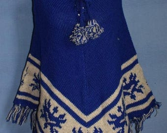 Hand knitted Vintage Retro Style Hippy Wool Poncho - blue