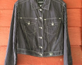 Vintage Authentic VERSACE Couture Stripes Bomber Jacket Made in Italy