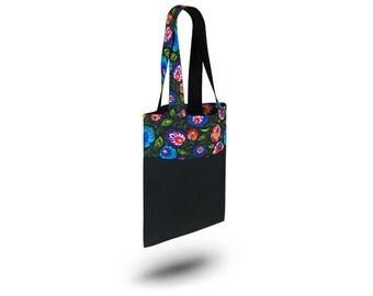Cotton Bag Loxia Shopping bag Cotton tote bag  - Rainbow Folk Black